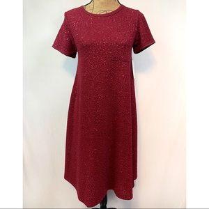 LuLaRoe Elegant Carly Dress Burgundy Size XXS NWT
